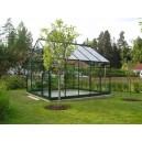 Serre de jardin verte en verre trempée 7,42 m²